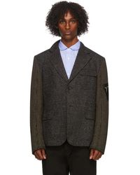 Junya Watanabe - Blouson a panneaux en laine et velours cotele gris - Lyst
