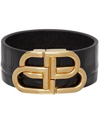 Balenciaga Bracelet embossé façon croco noir Large BB