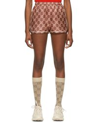 Gucci Burgundy Silk GG Supreme Shorts - Pink