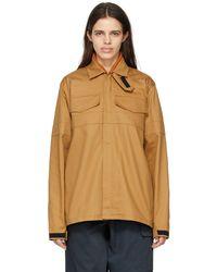GR10K Khaki Firepanel Zip Overshirt Jacket - Natural