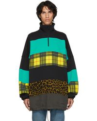 Balenciaga - Black And Blue Oversized Chimney Sweater - Lyst