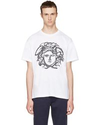 Versace - White Painted Medusa T-shirt - Lyst