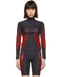 Givenchy Black And Red Neoprene Zip-up Sweater