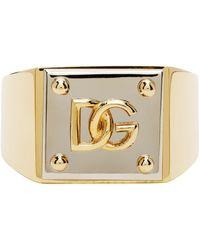 Dolce & Gabbana Dolcegabbana ゴールドシルバー ロゴ リング - メタリック