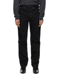 Lemaire Black Tapered 5 Pocket Jeans