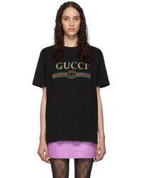 Gucci ブラック ビンテージ ロゴ T シャツ