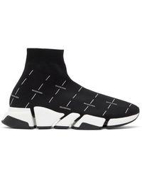 Balenciaga ブラック & ホワイト Speed 2.0 ロゴ スニーカー