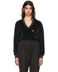 Yeezy - Green Velour Deep V-neck Sweatshirt - Lyst
