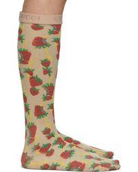 Gucci Off-white Strawberry Socks - Multicolor