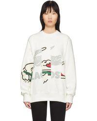 Lacoste オフホワイト クロコダイル プリント スウェットシャツ