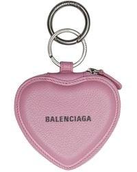 Balenciaga Porte-clés à miroirà compartiment à monnaie en forme de cœur - Rose
