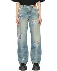 Heron Preston ブルー Embroidered ジーンズ
