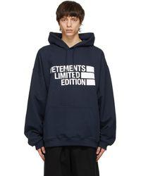 Vetements - ネイビー Limited Edition Big ロゴ フーディ - Lyst