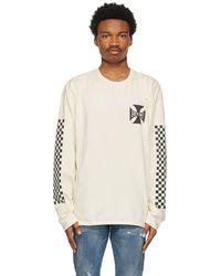 Rhude T-shirt à manches longues blanc cassé Classic Checkers