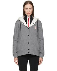 Moncler Grenoble - Grey & White Hooded Button Down Jacket - Lyst