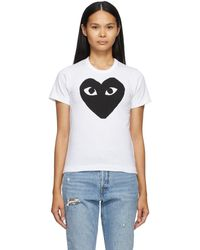 COMME DES GARÇONS PLAY - ホワイト And ブラック Large Heart T シャツ - Lyst