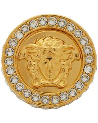Versace Gold All Over Crystal Ring - White