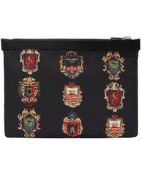 Dolce & Gabbana - Black Nylon Crest Pouch - Lyst