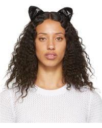 Maison Michel Black Heidi Cat Headband