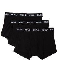 HUGO - ブラック ロゴ ボクサー ブリーフ 3 枚セット - Lyst
