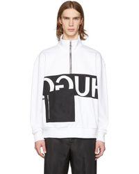 HUGO - White Reverse Logo Patch Pocket Zip-up Sweatshirt - Lyst