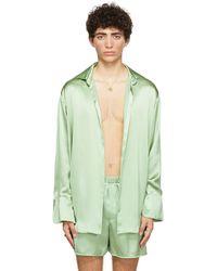 Ludovic de Saint Sernin Green Silk Go To Shirt