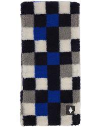 Marcelo Burlon Blue & Grey Wool Checkerboard Scarf