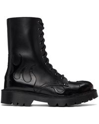Vetements Black Flame Lace-up Military Boots
