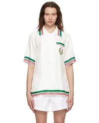 CASABLANCA Blanca ホワイト シルク Tennis Club ショート スリーブ シャツ