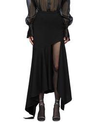 Mugler Black Wool Mixed Length Skirt
