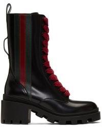 Gucci ブラック ウェブ ブーツ