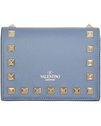Valentino Garavani ブルー Rockstud Flat French ウォレット