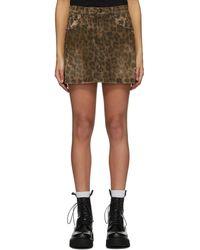 R13 ブラウン デニム Leopard ミニスカート
