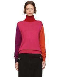 Facetasm - Pink Wool Colorblocked Turtleneck - Lyst