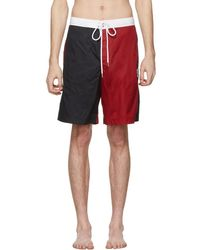 Moncler Gamme Bleu - Navy And Red Tricolor Swim Shorts - Lyst