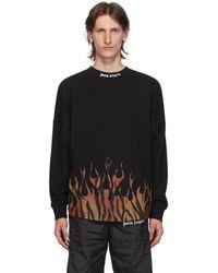 Palm Angels T-shirt a manches longues et logo noir Tiger Flames