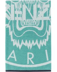 KENZO Blue And White Tiger Stamp Beach Towel
