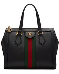 Gucci Ophidia Web Suede & Leather Top Handle Tote - Black