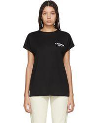 Balmain ブラック フロック ロゴ T シャツ