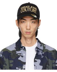 Versace Jeans Couture ブラック ロゴ キャップ - ブルー