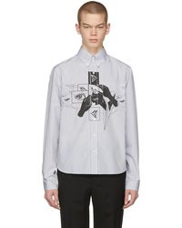 Prada - Grey And White Eyes Shirt - Lyst