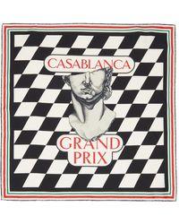 CASABLANCA ブラック & ホワイト シルク Statue Grand Prix スカーフ