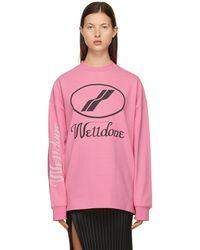 we11done Logo Long Sleeve T-shirt - Pink