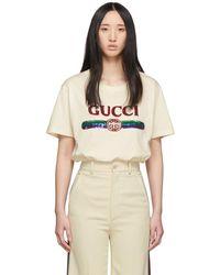 Gucci - ベージュ シークイン ビンテージ ロゴ T シャツ - Lyst