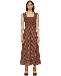 Ganni - オレンジ & ブラック チェック ロング ドレス - Lyst