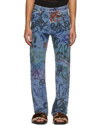 Vetements - Blue Graffiti Straight Jeans - Lyst