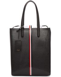 Thom Browne - Black Perforated Vertical Stripe Drawcord Tote - Lyst