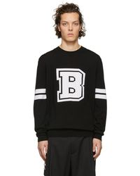 Balmain - Black Knit Logo Jumper - Lyst