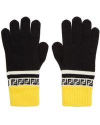 Fendi - Gants en laine noirs et jaunes Forever - Lyst