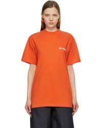 Sunnei T-shirt orange et vert Mini Logo